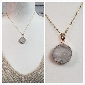 Jewelry - Druzy Stone & Gold-toned Necklace